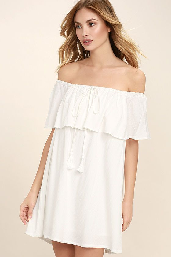 050d8500d5 The Melodic White Off-the-Shoulder Shift Dress is like music to our ears!  This dreamy woven number features a drawstring, off-the-shoulder neckline  (with ...