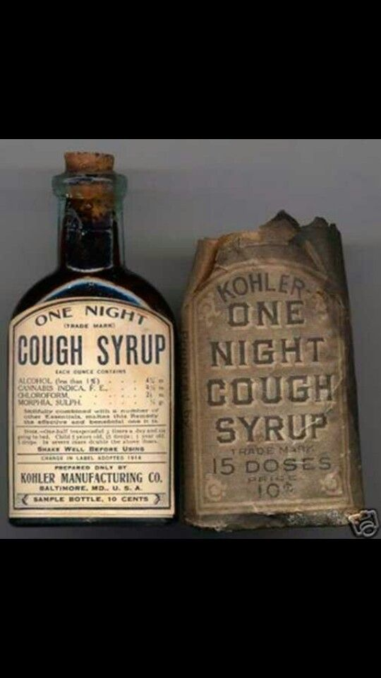 One night cough syrup circa early 1900s ingredients for cough and mostly  anything... #vintage #medicine #history
