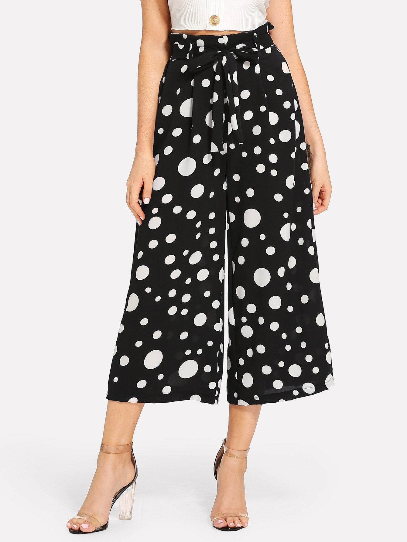 b18280e6fd Boho Polka Dot Wide Leg Loose Drawstring Waist Mid Waist Black and White  Capris Length Polka Dot Print Palazzo Leg Pants