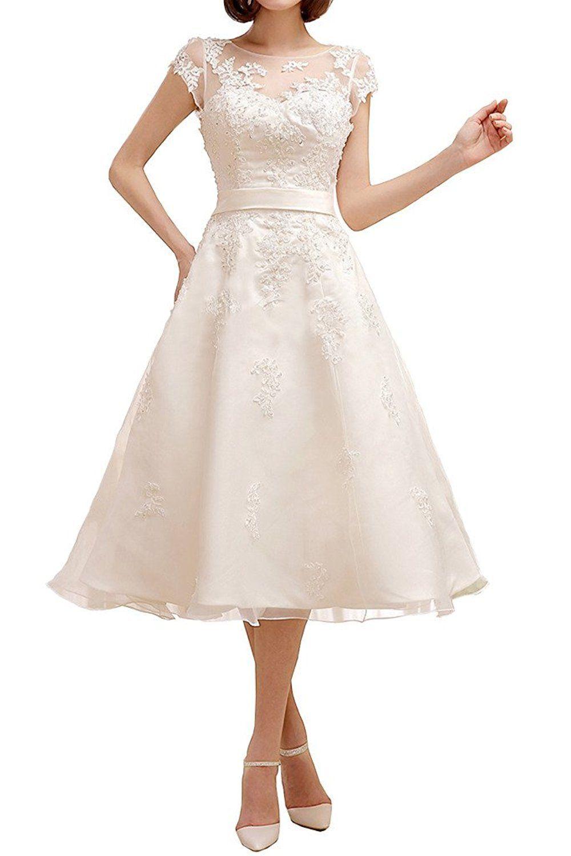 Cloverbridal 14 Elegante A-Linie Kurz Hochzeitskleid Kurze Ärmel