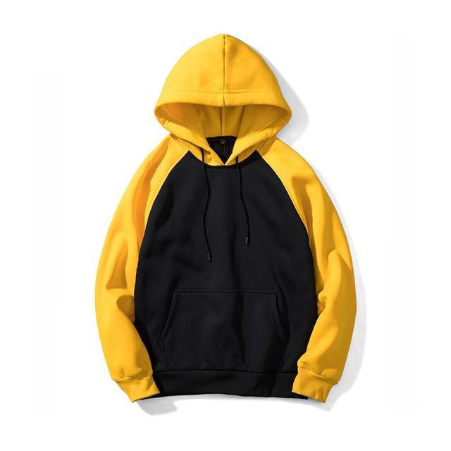 Hoodies Men Thick Hooded Patchwork Sweatshirts Long Sleeve