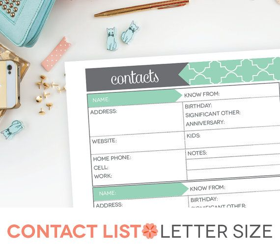 Contact List Printable Editable Address Book By Perennialplanner