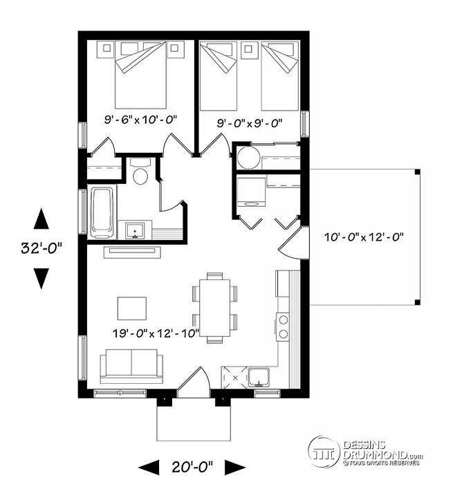 Plan De Rez De Chaussée Maison Contemporaine Abordable, 2 Chambres, Cuisine  Et Séjour à Aire Ouverte, Terrasse Latérale   Maxence
