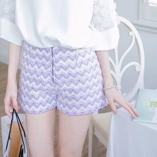 Chevron-Detail Zip Shorts