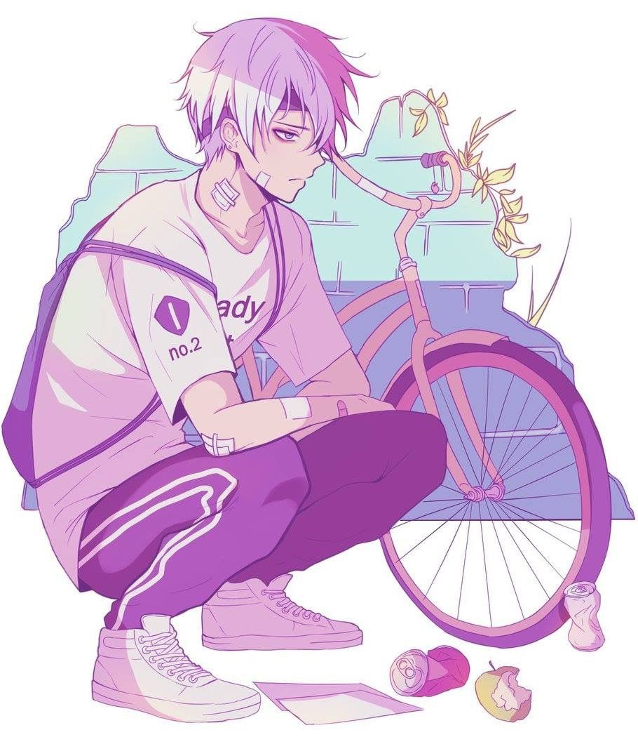 Anime Guy White Hair Blue Eyes Bike Sporty Cute Anime Boy Anime Guys Cute Anime Guys