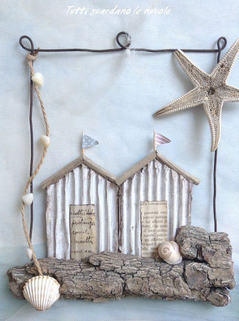 Decorazioni Estive Con Corteccia E Filo Di Ferro Paper Conchiglie Legnetti Di Mare Driftwood Crafts Summer Decor Beach Crafts
