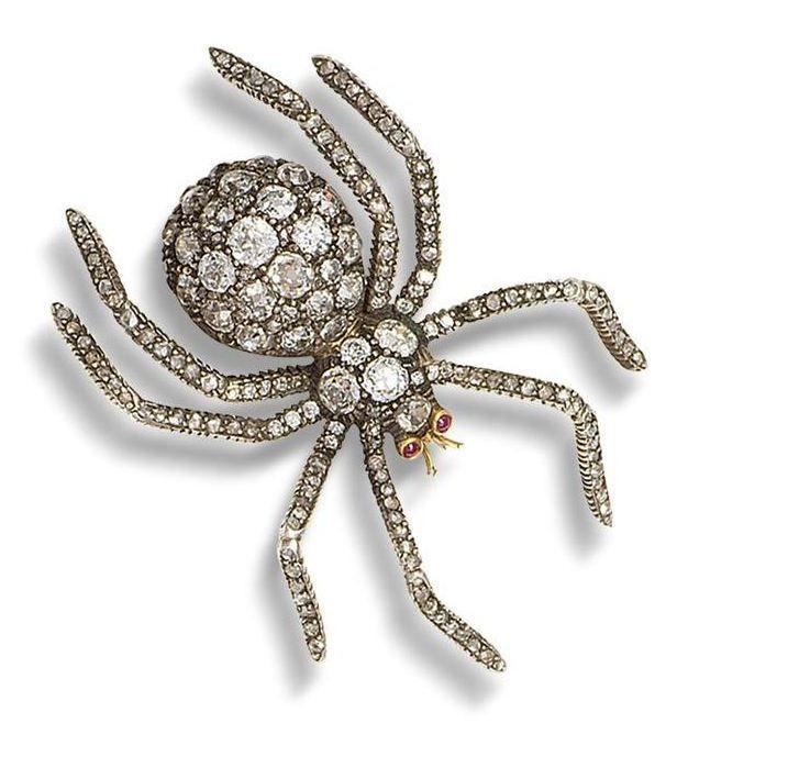 Diamond, Sapphire, Ruby, Spider Brooch, Russian