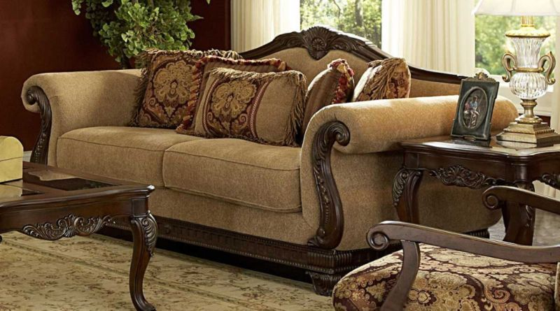 Antique Victorian Style Chenille Sofa Couch Living Room Furniture Traditional Living Room Furniture Home Furnishings Living Room Furniture Sofas #victorian #style #living #room #sets