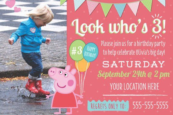 Peppa Pig Birthday Party Kids Invitation Theme Boy Girl Invite With Photo Horizon