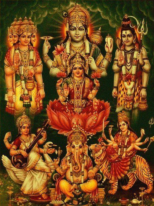 Hindu art the trinity with their respective feminine energies and ganesha oh god durga - Images of hindu gods and goddesses ...