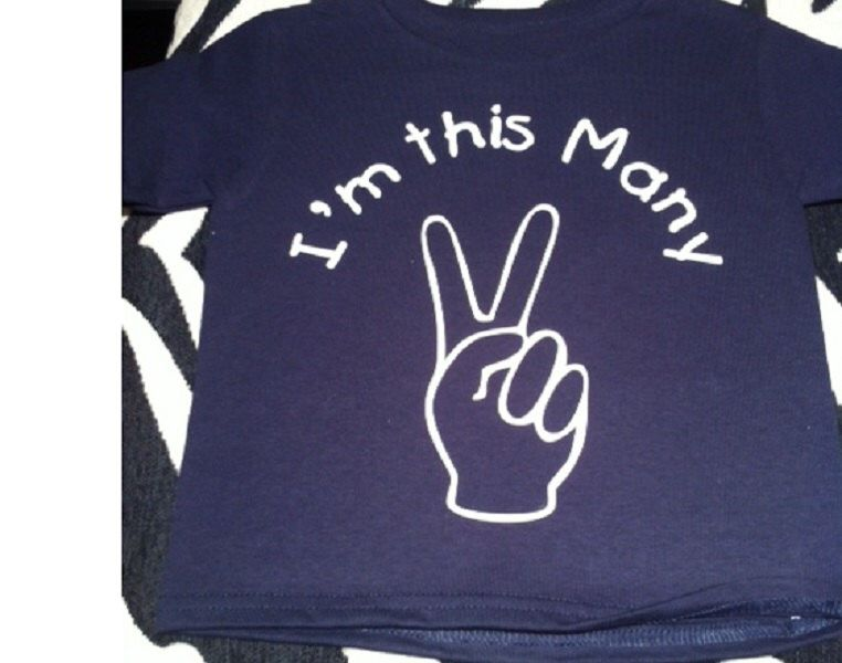 Im This Many TWO Peace Sign Birthday Shirt For 2 Year Old