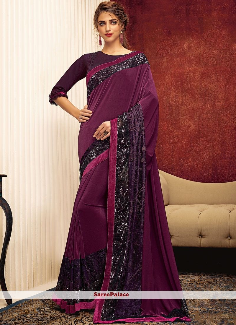 Buy Wine Lycra Designer Designer Saree Online In 2020 Party Wear Sarees Online Party Wear Sarees Party Wear