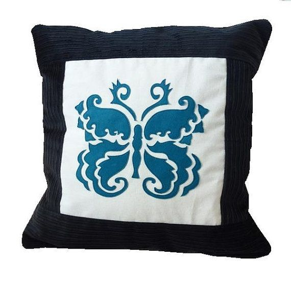 Damask Butterfly applique cushion   teal by MinXtures on Etsy