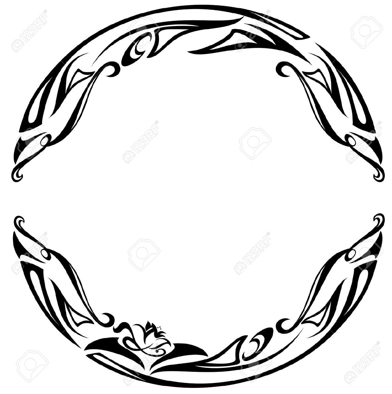 Art Nouveau Style Round Frame Black And White Abstract Floral
