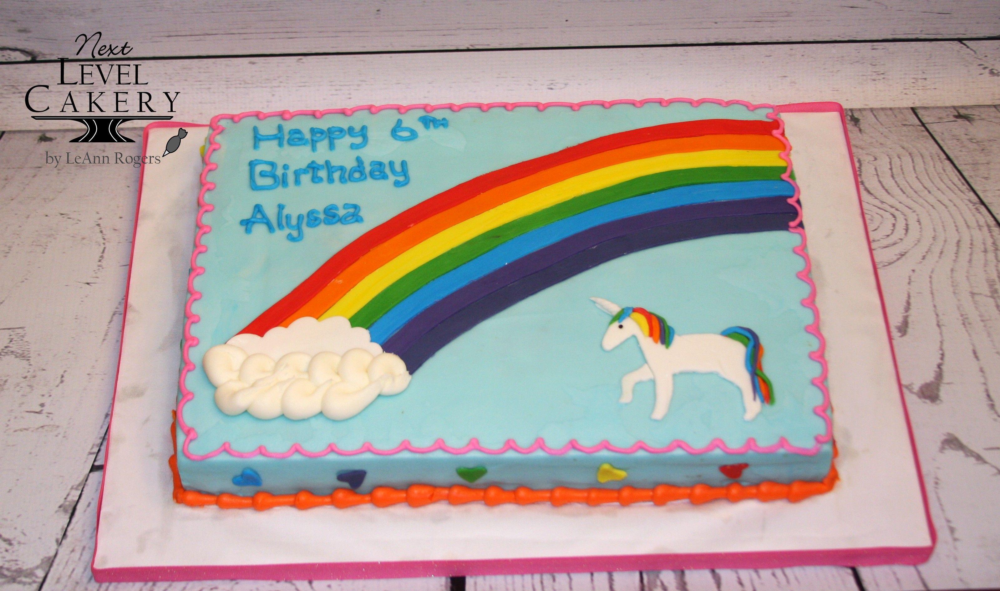 rainbow unicorn sheet cake Mayas 5th BDay Pinterest Rainbow