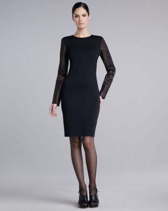 St. John - Shop Online - Dresses - Leather-Sleeve Knit Dress