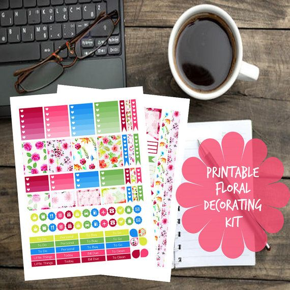 Printable Floral Decorating Kit by PlannerStickerLady on Etsy