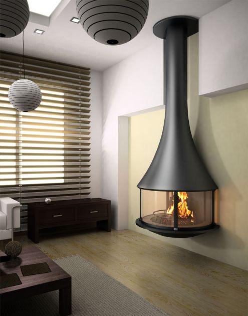 Zelia cheminée murale avec foyer fermé par JC Bordelet Cuisine