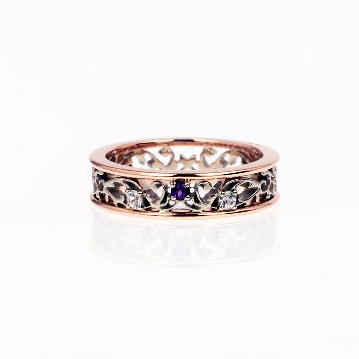 Amethyst ring filigree wedding ring rose gold by TorkkeliJewellery