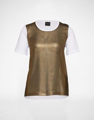 SELECTED FEMME Shirt im Materialmix ´SFSURI´ Damen weiss gold