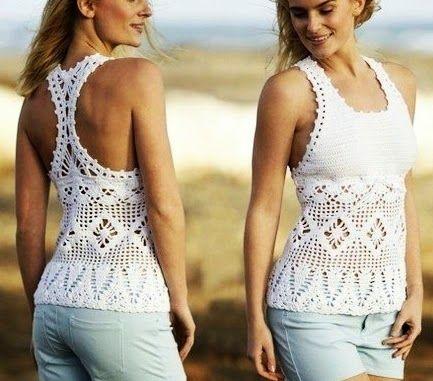 c704cbae44a0 Blusa Com Decote Nadador | White Crochet blouses,vest,tunica ...