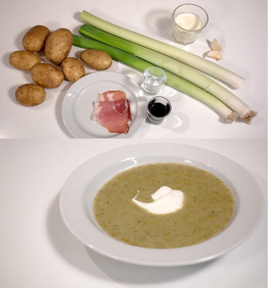 Den klassiske metode til at genbruge mad: Brug hvad du har liggende i køleskabet; mix det, kog det, blend det, smag det til med krydderier og vupti så har du en god suppe..  En klassiker er kartoffel porre suppe. Her bruger du kartofler, hvidløg, fløde og porrer og topper eventuelt med stegt skinke.