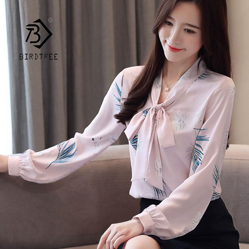 0bd63012a6b0c2 2019 New Spring Fashion Print Floral Lace Up Bow Women's Shirt Long Sleeve  Chiffon Blouses Office Lady Style Hot Sales T91604Z. Yesterday's price: US  $17.29 ...