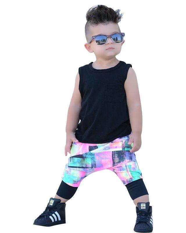 Toddler Baby Boys Black Tank Top + 3D Jogger Pants 2pcs ...