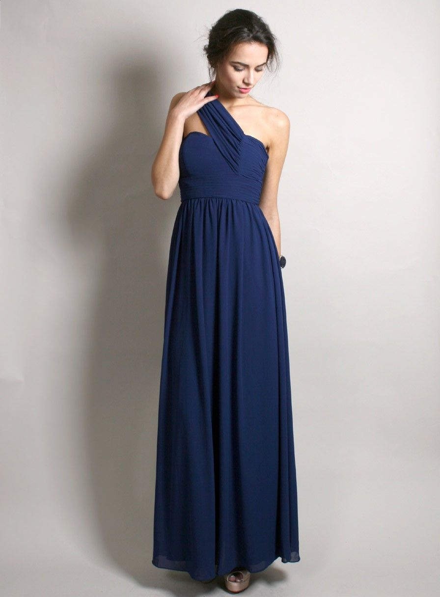 One Shoulder Chiffon Navy Blue Bridesmaid Dress