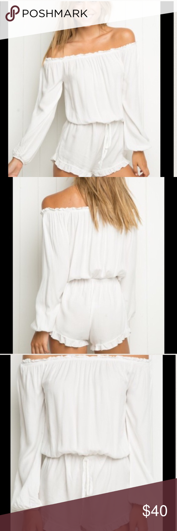 NWT - Brandy Melville Off the Shoulder Romper Never worn. Sold out in stores. Ties at waist. Ruffle detail across top and at short hem. Elastic shoulder and wrist hem. Brandy Melville Dresses Long Sleeve
