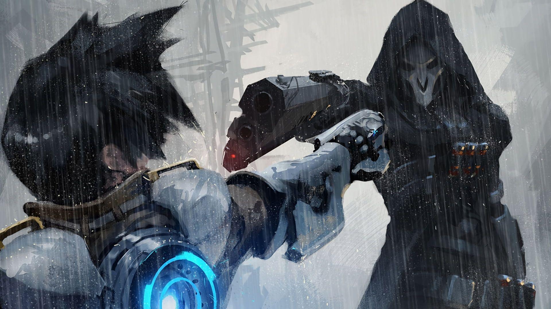 Overwatch Video Games Tracer Overwatch Reaper Overwatch Digital Art 1080p Wallpaper Hdwallpaper Overwatch Wallpapers Overwatch Reaper Overwatch Posters