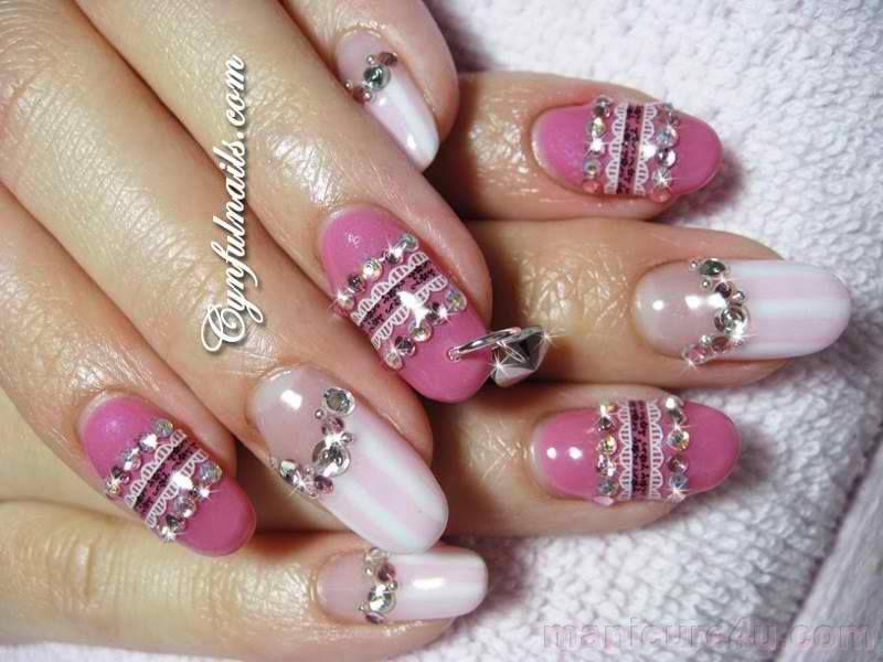 blinged nail design love
