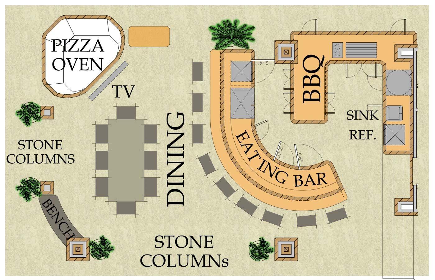 outdoor kitchen floor plans, outdoor living kitchen, pizza oven