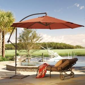 Lovely Home Decorators Collection, 10 Ft. Cantilever Patio Umbrella In Terra Cotta  With Black Frame, 6249610170 At The Home Depot   Tablet