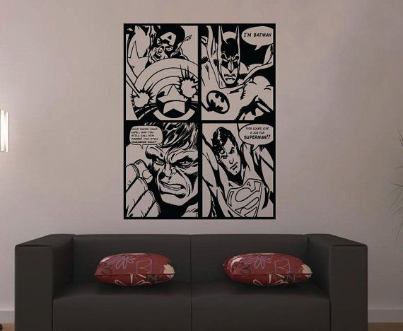 Large Retro Superhero Comic Wall Sticker Vinyl By HallofHeroes - Superhero vinyl wall decals