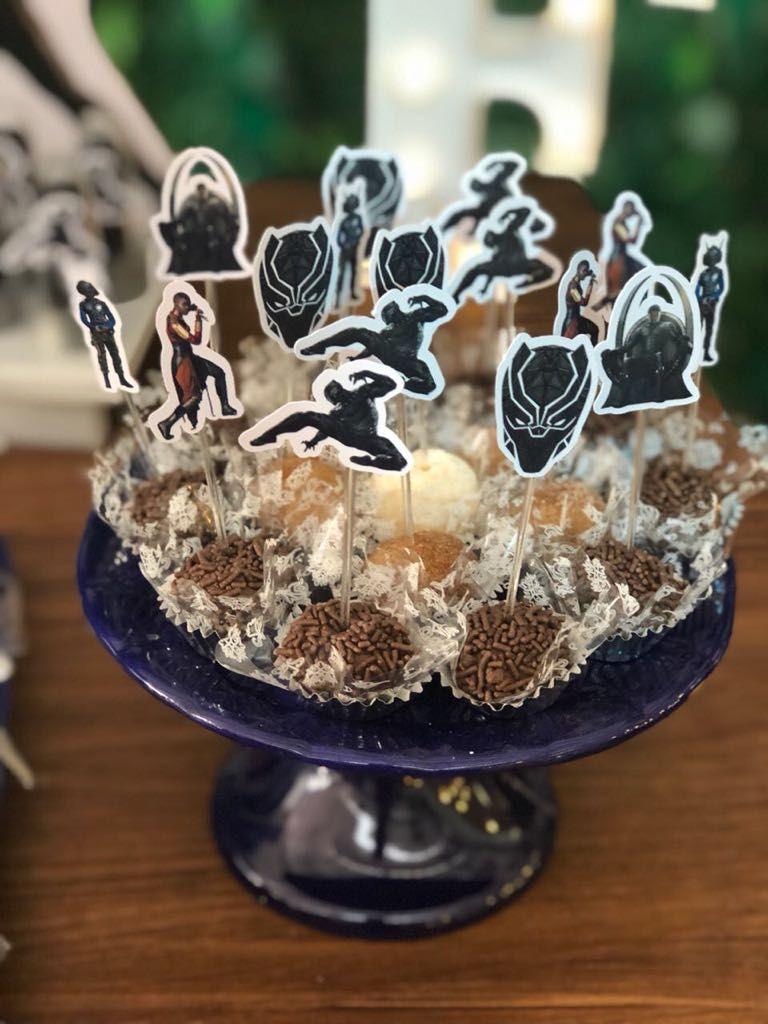 Festa Pantera Negra montada pela mam u00e3e Rachel com as peças de decoraç u00e3o Design Festeiro  -> Peças Grandes De Xadrez Para Decoração