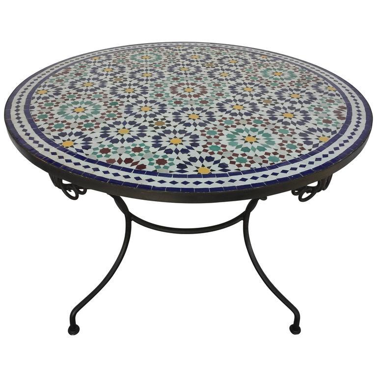 Moroccan Round Mosaic Outdoor Tile Table In Fez Moorish Design 39