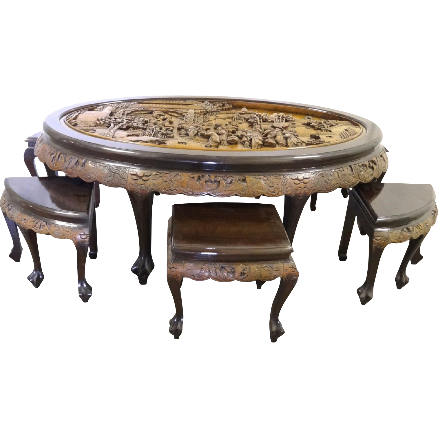 Vintage Hand Carved Mahogany Oval Tea Table With 6 Stools By