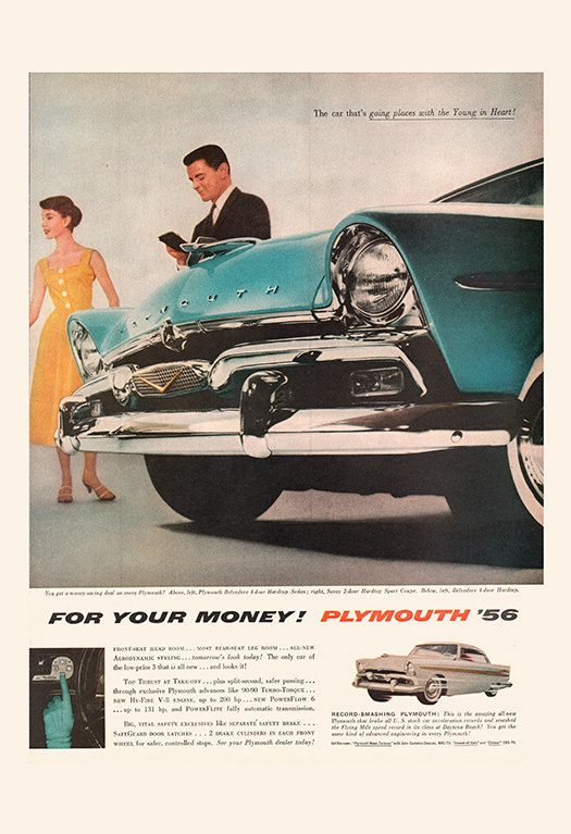 CLASSIC CAR AD  – Plymouth '56 Ad-  Mid-Century Car Poster Vintage Car Advertising Art Retro Car Art Poster Retro Car Poster Car Lover Art
