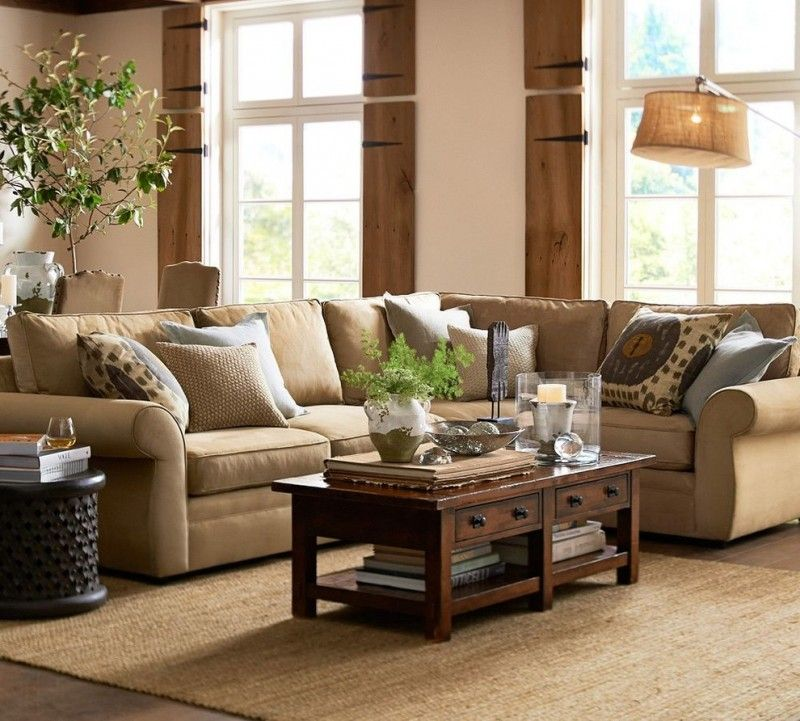 Brown Pottery Barn Pearce Sofa Pillow Throws Wooden Kitcen Table Cream Rug  Brown Floor White And