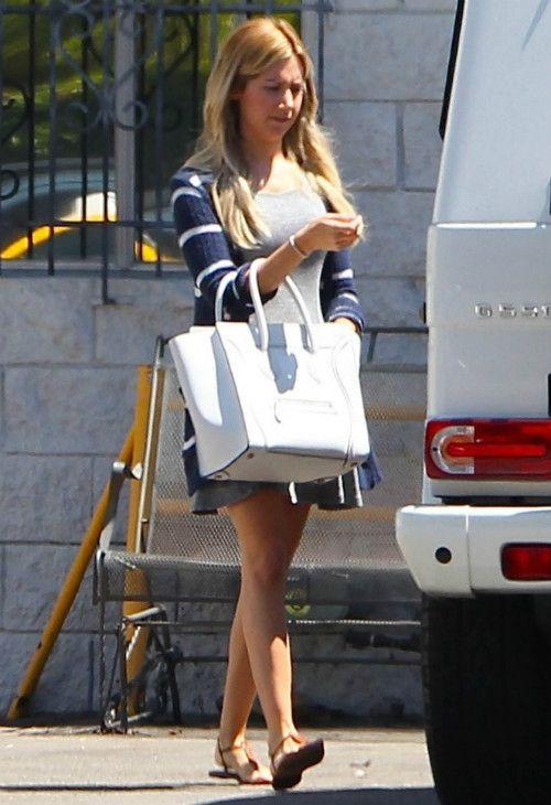 32177670fbb5 Ashley Tisdale wearing Sam Edelman Gigi Sandal Celine Boston Bag Splendid  French Riviera Stripe Cardigan in Navy