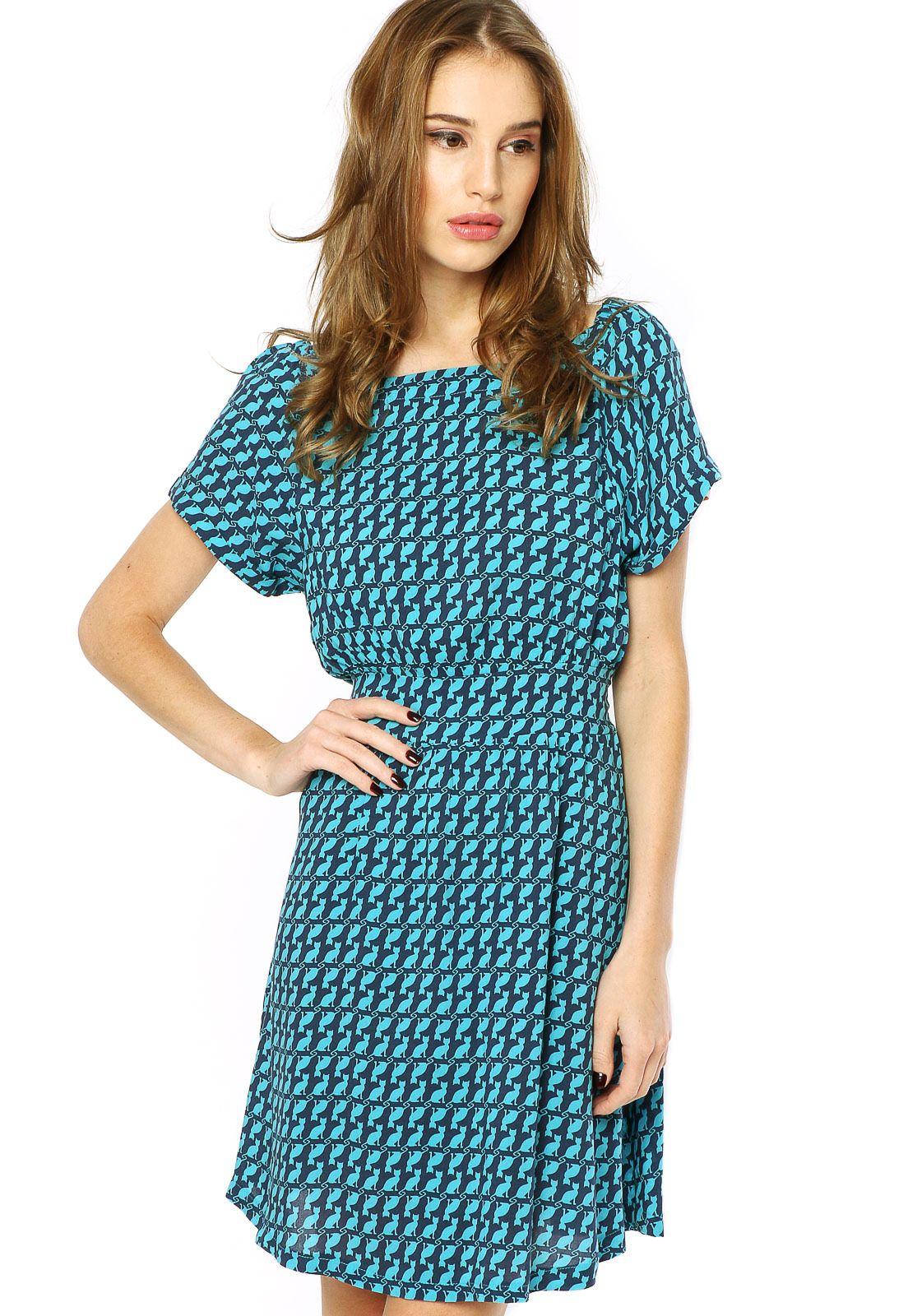 ebeab11368 Vestido Mercatto Tecido Estampado Azul - Compre Agora