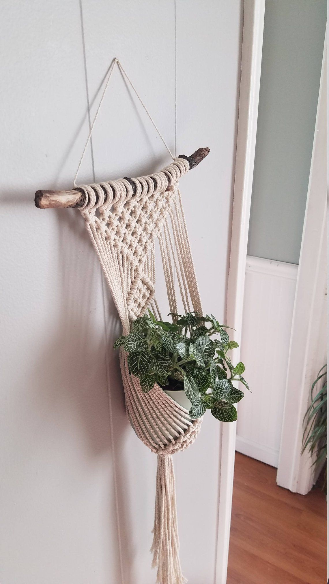 clove hitch single plant hanger macrame plant wall on wall hanger id=25040