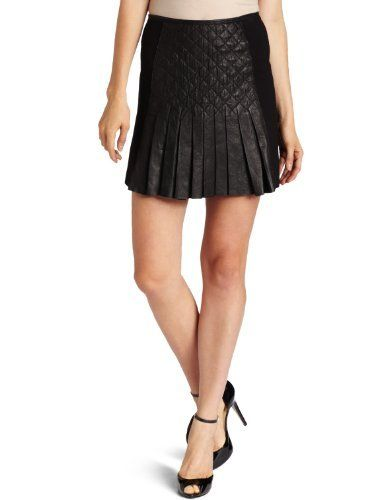 Catherine Malandrino Women's Pleated Leather and Ponti Skirt Catherine Malandrino. $495.00. Dry Clean Only. Made in China. Quilted leather detail. 100% Leather/74% Rayon/20% Nylon/6% Elastane. Front and back pleating