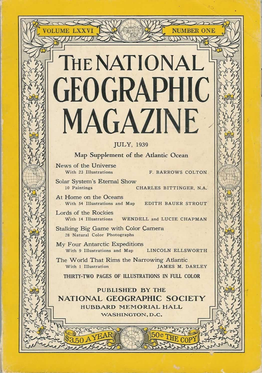 1939 National Geographic Space Cover