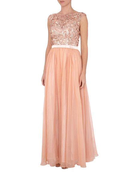 LUXUAR Abendkleid mit Paillettenbesatz in Apricot   FASHION ID Online Shop a5a6bff8f6