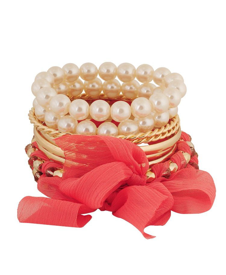 Pearls and gold bracelets
