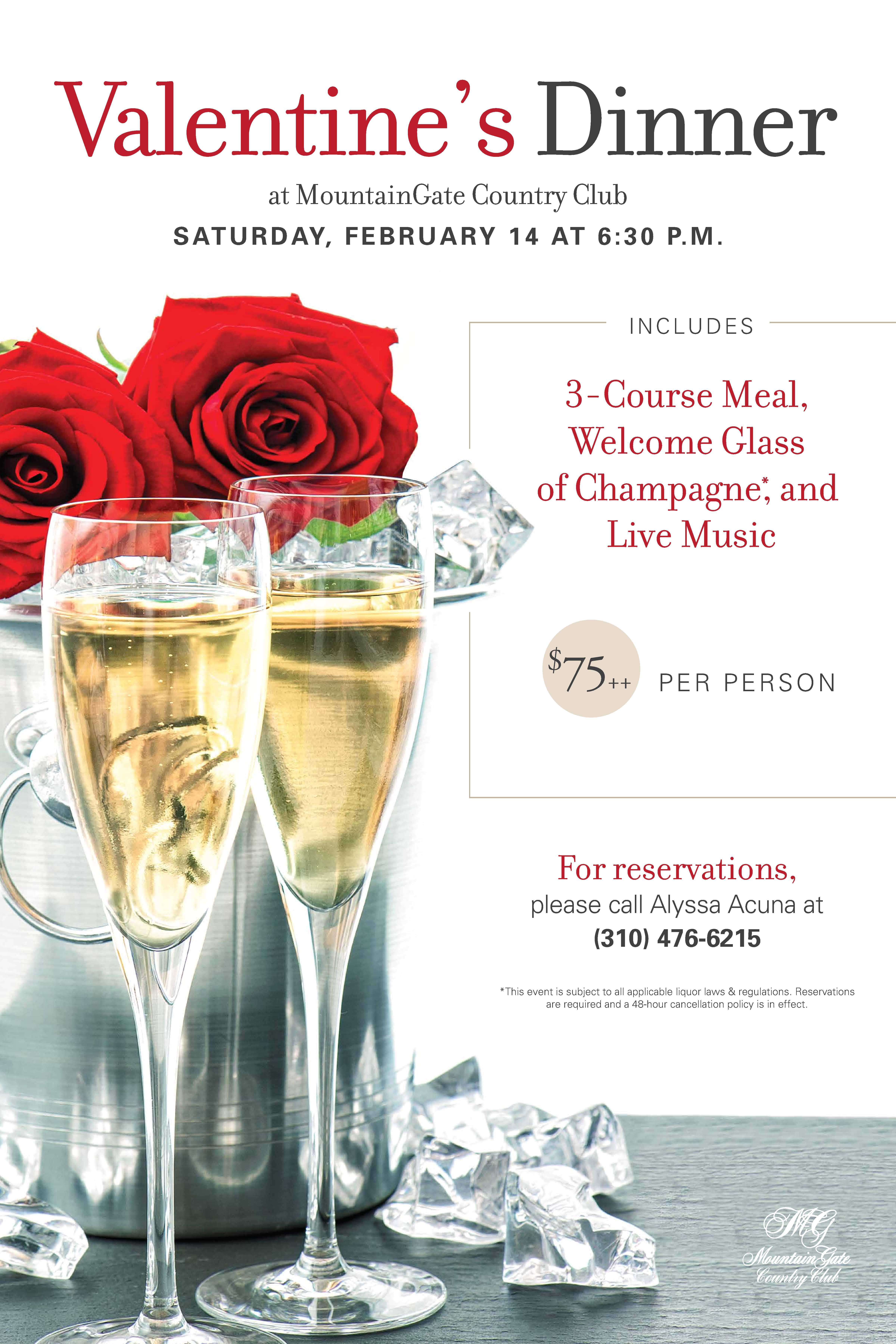 Valentine S Day Dinner At Mountaingate Country Club In Los Angeles Valentine Dinner Valentines Day Dinner Work Event Ideas