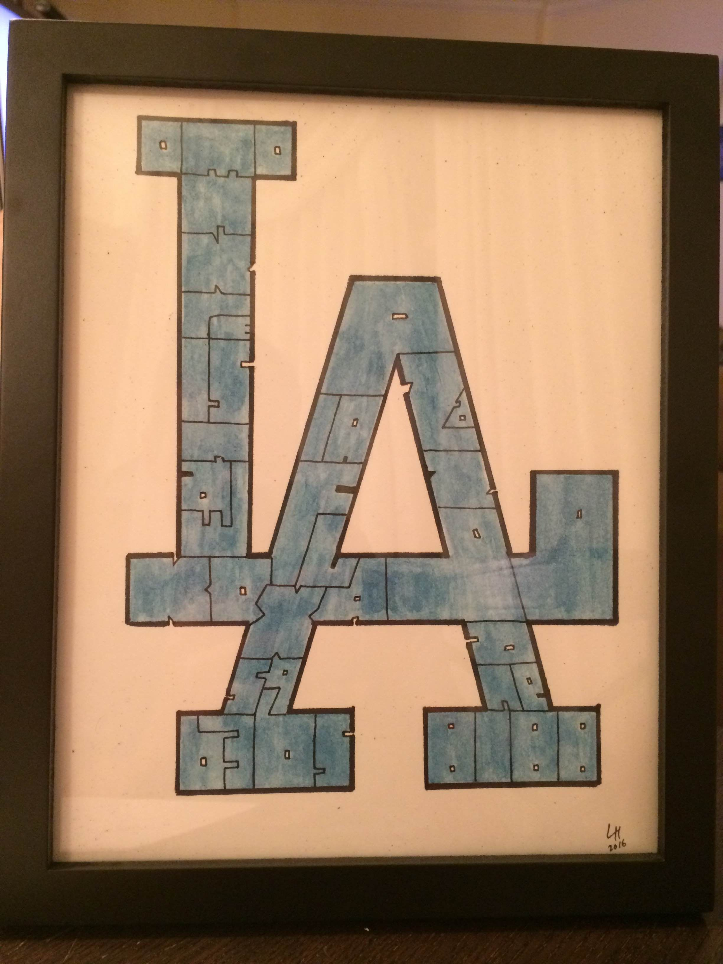 Letter mosaic inspired by the Los Angeles Dodgers logo. | Custom ...