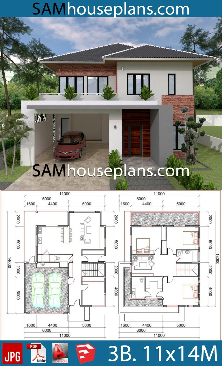 House Plans 11x14 With 3 Bedrooms Sam House Plans House Plans Simple Bungalow House Designs House Blueprints